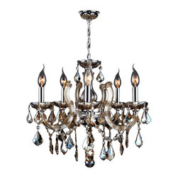 "Worldwide Lighting - Catherine 5 Light Chrome Finish & Golden Teak Crystal Chandelier 18"" - This stunning 5-light Crystal Chandelier only uses the best quality material and workmanship ensuring a beautiful heirloom quality piece. Featuring a radiant chrome finish and finely cut premium grade golden teak (translucent champagne color) crystals with a lead content of 30%, this elegant chandelier will give any room sparkle and glamour. Worldwide Lighting Corporation is a privately owned manufacturer of high quality crystal chandeliers, pendants, surface mounts, sconces and custom decorative lighting products for the residential, hospitality and commercial building markets. Our high quality crystals meet all standards of perfection, possessing lead oxide of 30% that is above industry standards and can be seen in prestigious homes, hotels, restaurants, casinos, and churches across the country. Our mission is to enhance your lighting needs with exceptional quality fixtures at a reasonable price."