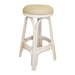 "Hospitality Rattan - Carmen Indoor Rattan 30"" Swivel Bar Stool in Whitewash Finish - A traditional wicker and rattan swivel bar stool that is built with solid rattan pole construction. The Carmen Collection offers three basic finishes. The bar stools and counter stools feature commercial grade reinforced rattan bases, swivel mechanisms & reinforced double pole footrests. In addition your choice of over 35 fabrics is available on the Carmen Collection. The stool will come with instructions and requires assembly. Features: -Traditional indoor rattan and wicker swivel bar stool. -Finished in whitewash color. -Includes cushion with choice of fabric in a variety of colors and patterns. -Commercial grade reinforced rattan bases. -Swivel mechanism included. -Reinforced double pole footrests. -Constructed of commercial quality rattan poles. -Requires some assembly (instructions included). -Overall dimensions: 29"" H x 16"" W x 16"" D."