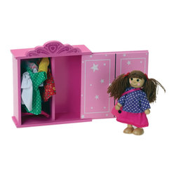 """The Original Toy Company - The Original Toy Company Kids Children Play Maggie's Pink Closet - Maggie's Closet - solid wooden closet & sliding door, 5 different outfits, hats, backpack,purse & clothes hangers. Maggie stands 4 inches high. Age: 3 plus years. Closet: 6""""Wx 6.5""""Hx 2""""D. Maggie: Stands 4""""H. Shrink wrapped. WARNING: May Contain Small Parts."""