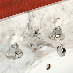 New York Widespread Bathroom Faucet - Small Porcelain Cross Handles - Chrome - Petite porcelain cross handles add traditional style to the contemporary New York Widespread Bathroom Faucet. With adjustable centers and quality solid brass construction, this bathroom faucet will be the ideal finishing touch to your pedestal sink or vanity top.