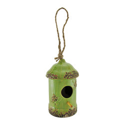 Zeckos - Green Porcelain Rounded Top Hanging Birdhouse 7.5 In. - Your feathered friends will appreciate this porcelain birdhouse, and it adds an adorable accent to your yard. It measures 7 1/2 inches tall, 4 inches in diameter, and has a 1 1/2 inch diameter opening with an inch long perch. Butterflies adorn each side of the opening, and a carefully crafted glazing gives the piece a wonderfully distressed look. A six inch loop of rope allows you to hang this birdhouse from a sturdy branch or pole hanger. It makes a thoughtful housewarming gift for a friend that is sure to be enjoyed year after year.