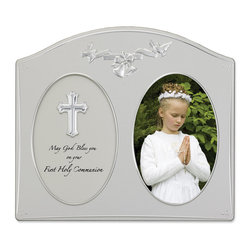 "Lawrence Frames - Silver Metal 4x6 Holy Communion Picture Frame - Holy Communion satin silver metal picture frame with polished silver cross and ribbon decorations.  Holds one 4x6 photo, and also has an oval plaque with ""May God Bless you on your First Holy Communion"" in black script lettering.  Beautiful black velvet backing with easel for vertical table top display.  High quality 4x6 metal picture frame is made with exceptional workmanship and comes individually boxed."