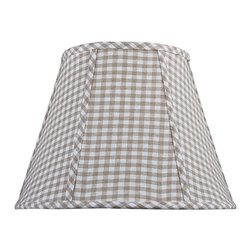 """Lamps Plus - Country - Cottage Tan Checkered Empire Shade 9x16x12 (Spider) - Soft and cheerful this softback empire shade features a tan and cream checkered design. Made of soft cotton fabric with a lustrous silk liner for distinctive style. Plus the convenient spider fitter makes it easy to swap out an old shade for this fresh design. The correct size harp comes free with this purchase. Tan and cream empire shade. Checkered design. Cotton outer. Silk lining. Spider fitter. 9"""" across the top. 16"""" across the bottom. 12"""" on the slant.  Tan and cream empire shade.   Checkered design.  Cotton outer.  Silk lining.  Spider fitter.  9"""" across the top.  16"""" across the bottom.  12"""" on the slant."""