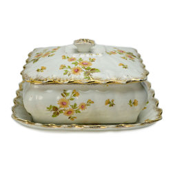Lavish Shoestring - Consigned Porcelain Butter Dish on Plate w/ Floral Decor by Ridgways, English Ed - This is a vintage one-of-a-kind item.