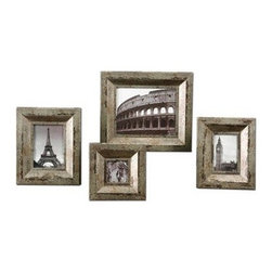 Uttermost - Uttermost 18516 Camber Rustic Photo Frames Set of 4 - Champagne silver finish with black and caramel undertones. Holds photo size: 3.5x3.5, 4x6, 5x7, 8x10. Frame Sizes: Sm-8x8x1, Med-9x11x1, Lg-10x12x1, XL-13x15x1
