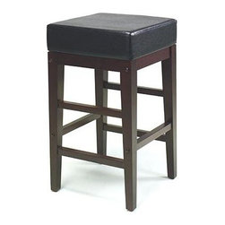Office Star - Vinyl Upholstered Backless Kitchen Counter St - Bring sophistication to your kitchen with this backless counter stool.  Its durable black vinyl upholstered seat is spacious and square, as is the attractive ladder frame that shows off charming and stylish espresso finished square legs and supports.  The solidly built and exceptionally comfortable Square Metro Counter Stool in Espresso finish features a 14 inch square padded seat covered in durable Black vinyl.  The 25 inch tall stool is supported by a sturdy ladder frame finished in rich Espresso.  You expect bold design ideas from Metro - and this item won't disappoint! * Metro Collection. Espresso Frame. Black Vinyl covered seat Finish. 14 in. L x 14 in. W x 25 in. H (12 lbs.)