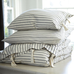 Ballard Designs - Ticking Stripe Duvet Cover - Black King - Coordinates with our Ticking Stripe Sham & Bedskirt. Machine washable. When we found our vintage Ticking Stripe fabric, we knew it belonged in the bedroom. The Duvet Cover is hand finished in 100% cotton with same stripe reverse and cotton twill ties for a casual, sleep-in look and feel. Ticking Stripe Duvet Cover features: . .