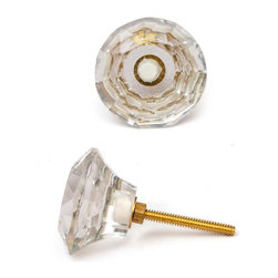"Knobco - Glass Knob, Clear Glass Diamond-Cut Mushroom - Clear glass diamond-cut mushroom shaped knobs for your kitchen and bathroom cabinets and drawers. These high quality, diamond-cut glass knobs are approximately 1.4"" in diameter. Perfect for your household cabinets and drawers or dressers and desk drawers."