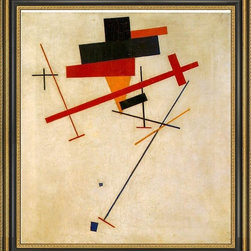 """Art MegaMart - Kazimir Malevich Suprematist Painting - 16"""" x 20"""" Framed Premium Canvas Print - 16"""" x 20"""" Kazimir Malevich Suprematist Painting framed premium canvas print reproduced to meet museum quality standards. Our Museum quality canvas prints are produced using high-precision print technology for a more accurate reproduction printed on high quality canvas with fade-resistant, archival inks. Our progressive business model allows us to offer works of art to you at the best wholesale pricing, significantly less than art gallery prices, affordable to all. This artwork is hand stretched onto wooden stretcher bars, then mounted into our 3 3/4"""" wide gold finish frame with black panel by one of our expert framers. Our framed canvas print comes with hardware, ready to hang on your wall.  We present a comprehensive collection of exceptional canvas art reproductions by  Kazimir Malevich ."""