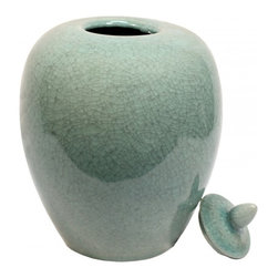 "n/a - 12""H Oriental Hand Glazed Celadon Porcelain Melon Jar - This is an elegant Chinese porcelain in Celadon green glaze. This classic melon jar shape with matching button top lid is made in southern China by an award winning pottery studio. Use it as a storage container or a accent piece.  Resplendent in eye catching rich celadon crackle fired glaze, makes this traditional Chinese porcelain ideal for your colonial or modern interior. We recommend this piece for table top use. Consider one of our 6"" flat rosewood stands for display, it can also be made into a lamp."