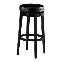 "Pastel Furniture - Richfield Backless Barstool - The Richfield backless barstool brings traditional style with comfort to any home. This backless swivel barstool features a quality wood frame with sturdy legs and foot rest finished in Feher Black. The padded seat is upholstered in Black Leather offering comfort and style. Available in 26"" counter or 30"" bar height. Assembled dimensions for this barstool: 29.92H x 17.32W x 17.32D"