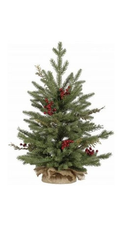 Winward Designs - St. Catherine Christmas Tree in Burlap - Don't worry about sweeping up dried needles or watering a single thing this holiday season. Invest in a festive tabletop tree with a rustic burlap bag and start decorating today. You'll love pulling this out of the box, year after year, while saving yourself that trip to the overpriced tree lot.