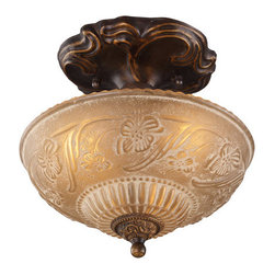 ELK Lighting - ELK Lighting 08103 Restoration Three-Light Semi-Flush Ceiling Fixture - A Grouping Of Ceiling Lighting Developed With A Discriminating Concern For Preserving Historic Lighting And Architectural Designs.This Offering Of Expert Restoration And Replication Fixtures Is Offered In A Wide Variety Of Styles And Sizes.Specifications: