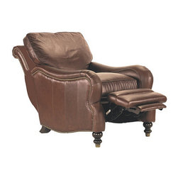 Ballard Designs - Bromley Leather Recliner - Classic, hand sewn British tailoring is combined with the finest full grain leathers to create a seating collection of remarkable comfort and style. Each piece is covered in supple, top grain leather with hand applied brass tacks, turned walnut finish legs and distinctive brass sleeve detail. Frames are bench-made of solid hardwood with eight-way, hand-tied springs and thick layers of soft, continuous padding. Back cushion zippers into place to prevent slipping. Recliner adjusts to three relaxing positions with a gentle push.