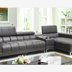 Modern Gray Leather Sectional Sofa Chaise Console Bluetooth Speaker - Foldable headrests, chrome legs, and black bonded leather match all make this sectional a great choice for your home. But what makes it even better is the center console with bluetooth speakers, so you can play your favorite music wirelessly in living room.