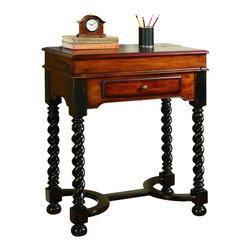 "Hooker Furniture - Hooker Furniture Jacobean Twist Leg Flip Top Writing Desk - This handsome traditional flip-top writing desk is featured on a smaller scale with lots of design including jacobean twist legs with a rich black finish. The wood and leather top flips to reveal a brown leather writing surface with gold tooling and pigeon holes. It has one drawer. Hardwood Solids with Cherry Veneers. Dimensions: 28""W x 16.25""D x 33.25""H."