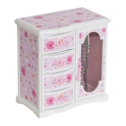 Mele Robin Glitter-Daisy 1 Door Musical Dancing Ballerina Jewelry Box - 8.25W x - Every little girl deserves a classic jewelry box and the Mele Robin Glitter-Daisy 1 Door Musical Ballerina Jewelry Box is fashioned after those beloved traditional pieces. Its delicate ballerina spins softly to the elegant music of Swan Lake making this her favorite bureau item today and a cherished keepsake when she's older. Complete with a necklace carousel three drawers and a lift lid with mirror there's plenty of room for all of her favorite accessories. Additional information: Small parts may pose choking hazard; appropriate for children over 8 years Decorated with pink white and green 'glitter-daisy' graphic Large main compartment About MeleEmidio Mele an Italian immigrant to the United States came to New York City in 1896 and learned to make jewelry boxes as an apprentice before founding Mele Manufacturing in 1912. He began by designing and building elegant displays for jewelry store windows. His jewelry box-making business grew throughout the 1900s responding to demands for boxes to hold Purple Hearts during WWII and developing as a popular household name for quality jewelry boxes. Today Mele Jewelry Box is known as the Mele Companies which encompass various divisions under the Mele name. Now based in Utica N.Y. Mele still upholds the family atmosphere on which it was founded and remains America's foremost name in jewelry cases.