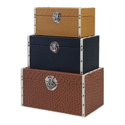 IMAX - Clark Trunks - Set of 3 - No need to stick your head in the sand: Solve storage needs beautifully with a trio of leather-look trunks in rich neutral colors set apart with an embossed ostrich pattern and silver metal hardware with old world flair.