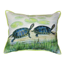 Betsy Drake - Betsy Drake Two Turtles Pillow- Indoor/Outdoor - Two Turtles Pillow- Large indoor/outdoor pillow. These versatile pillows are equal at enhancing your homes seaside decor and adding coastal charm to an outdoor setting arrangment. They feature printed outdoor, fade resistant fabric for years of wear and enjoyment. Solid back, polyfill. Proudly made in the USA.