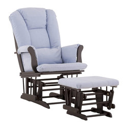 Stork Craft - Stork Craft Tuscany Glider and Ottoman with Free Lumbar Pillow in Black with Blu - Stork Craft - Rocking Chairs Rockers - 0655453B - Available in 6 wood finishes and 4 fabric combinations to create your own custom Tuscany Glider and Ottoman. The Stork Craft Tuscany Glider and Ottoman set offers gentle motion while feeding your baby in those early morning hours. Featuring a solid construction with a magical sleigh design this is a royal centerpiece for your nursery. The enclosed metal ball-bearings allow for an incredibly smooth motion to glide your baby back to sleep. Micro fiber spot-cleanable cushions ease the worry about spills while the construction offers an exquisite finish you'll appreciate far beyond the baby years. The Tuscany Glider comes with a matching soft plush lumbar support pillow for supporting your baby during feeding times.