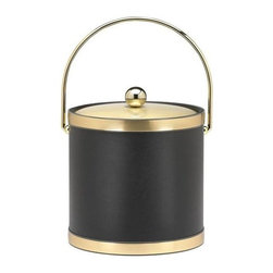 Kraftware - Sophisticates Ice Bucket in Black w Metal Cover - Features bale handle and brushed gold bands. 3 quart ice bucket. Classic black leatherette elegance. Made in USA. 9 in. Dia. x 9.in. H (3 lbs.)Always as appropriate as a formal Tuxedo at a reception.