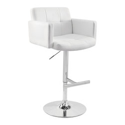 Lumisource - Stout Bar Stool White - The Stout Bar Stool was designed with comfort in mind. The padded seat combined with the high back and armrest makes this stool great for relaxing. The stool is supported by a polished chrome base and hydraulic pole which adjusts the seat height. Get comfy and look great doing it!