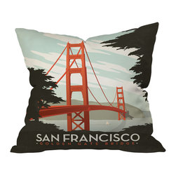 DENY Designs - Anderson Design Group San Francisco Throw Pillow, 18x18x5 - Rekindle happy memories or inspire wanderlust with this irresistible homage to the City by the Bay. The iconic Golden Gate Bridge appears on both the front and back of this 100 percent woven polyester pillow, which comes with insert. A perfect gift for anyone who's ever left their heart in San Francisco, or still resides there.