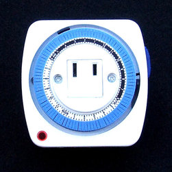 "Sunlight - Timer (2 prong plug) - 2 prong 115 Volt AC Timer. Can handle 15 Amps (1,725 watts.) 1,725 watts is equal to about 360 4.8-watt 70-LED light strings, so this timer can handle around 25,000 LED holiday lights. 24-hour timer. This timer is better than the old ones because the timer ""pins"" don't come out—so you can't lose them—just push pin down to turn on for 15 minutes or pull up to reset to off. Controls each 15 minute interval independently so you can turn your lights on or off up to 360 times per day (24 x 15.) 1.7 inch height, excluding prongs; 2.4 inch height, including prongs. Indoor use only."