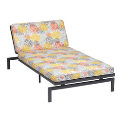 None - Alyssa Tango Bloom Adjustable Outdoor Chaise with Corded Cushion - This sun lounger features a detachable cushion with and sturdy metal frame. The lounge frame is adjustable and the cushion features stain, fade and mildew resistant fabric.