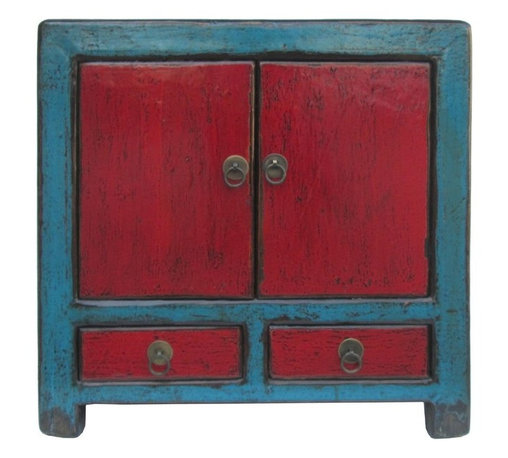 Golden Lotus - Rustic Turquoise & Red Lacquer Small Table Cabinet - This is a unique small table. It is made of solid elm wood and has turquoise and red lacquer on it.
