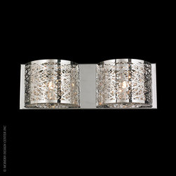Worldwide Lighting Aramis Wall Sconce W23143C20 - Worldwide Lighting Aramis Collection 2 Light Chrome Finish and Clear Crystal LED Wall Sconce Light