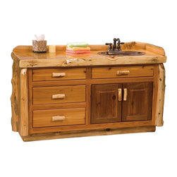 Fireside Lodge Furniture - Cedar 4 Drawer Log Vanity (Right - Liquid Gla - Finish: Right - Liquid GlassCedar Collection. 4 Drawers. Storage cabinet. All drawer fronts and doors are inset. All hinges are concealed European style for a clean uncluttered look. Full-extension ball-bearing glides rated to 100 lbs.. Northern White Cedar logs are hand peeled to accentuate their natural character and beauty. Clear coat catalyzed lacquer finish for extra durability. Liquid glass finish helps prevent scratches and denting in the wood on highly used surfaces and protect against standing water around the vanity. 2-Year limited warranty. 60 in. W x 21 in. D x 32.25 in. H (120 lbs.)