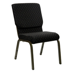Flash Furniture - Hercules Series 18.5'' Wide Black Dot Patterned Stacking Church Chair - This Hercules Series Church Chair will add elegance and class to any Church, Hotel, Banquet Room or Conference setting. If you are looking for a chair with comfort and style that is easy to move and stores away with ease, then look no further. This built to last chair has a 16-gauge steel frame that has been tested to hold 800 lbs. This church chair features double support bracing, ganging clamps, a cushion that graduates to a 4.25'' thick waterfall edge and plastic floor glides to protect non-carpeted floors. Our church chair is manufactured by one of the most reputable stack chair manufacturers in the industry, you can be assured of the quality of this chair offered to you.