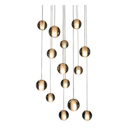 Lightupmyhome - 14-Light Florence Floating Glass Ball Pendant Chandelier - This gorgeous 14-light pendant pairs beautiful glass balls with a gorgeous soft subtle display of light. This pendant can be multiplied and set up in a cluster creating a floating glass ball effect.