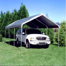"""King Canopy - King Canopy 10 x 20 ft. Universal Canopy Carport - C81020PC - Shop for Sheds and Storage from Hayneedle.com! The King Canopy 20 x 10 Universal Canopy Carport is the cousin of the Original King Canopy Carport. Built of the same durable 20-gauge steel and long-lasting polyethylene cover this structure will last for many years of heavy use. The carport comes with 8 powerful legs to support the extra size and provide more stability. You will find plenty of room on the sides to store extra items. Optional sidewall kits are available. Pipes are 20 gauge powder coated steel with an outside diameter of 1 3/8 inches. Fittings are 17 gauge powder coated steel with an outside diameter of 1 1/2 inches. Protect your car with an extra-sturdy canopy! Please note that this carport is not recommended for snow. About King Canopy In 1940 King Canopy started as a small family business in North Carolina. Since then King Canopy has been providing customers with high quality outdoor covers including canopies and cabanas as well as other recreational covers and canopy products. These sturdily constructed products span a variety of uses including providing shade and shelter for areas such as patios and greenhouses to events such as parties and flea markets. Moreover King Canopy's covers aptly protect cars trucks recreational vehicles boats and jet skis; they may also serve as a free-standing temporary carport dock house gazebo or garage. With a mission """"to provide high quality innovative outdoor leisure and sports products that offer tremendous value to our customers """" King Canopy remains committed to their values of family and honesty and producing top-quality products."""