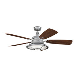 "DECORATIVE FANS - DECORATIVE FANS Harbour  Walk Patio 52""  Transitional Indoor/Outdoor  Ceiling Fa - A unique look with masculine details, this Kichler Lighting outdoor ceiling fan features a Galvanized Steel finish with coordinating medium walnut/cherry fan blades. From the Harbour Walk Collection, the look is completed with a Fresnel lens glass shade."