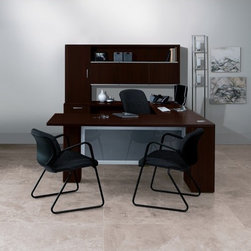 HON - Attune Series Computer Desk with Right Pedestal Credenza with 2 Drawers - Contemporary design with mixed materials. Easy-care laminate with vertically-matched woodgrain is abrasion- and stain-resistant. Full-extension file drawers operate on high-quality steel ball bearing suspensions. Pull-out printer/storage shelf helps reduce desktop clutter. Open modesty panel permits easy access to power/data wall outlets. Features: -Top material: Thermally Fused Laminated High-Density Particleboard.-Drawer types: Full Extension File.-Frame material: Thermally Fused Laminated High-Density Particleboard.-Post-Consumer Recycled Content Percent: 0 %.-Pre-Consumer Recycled Content Percent: 0 %.-Corner/Edge Style: Woodgrain PVC Edge.-Number of Pedestals: 1.-Pedestal Type: Full-Height, Right.-Compliance, Standards: Meets or exceeds ANSI/BIFMA standards, SCS Indoor Advantage.-Total Recycled Content Percent: 0 %.-Number of drawers: 2.-Package: Includes credenza. Warranty: The HON Limited Lifetime Warranty..-Distressed: No.-Collection: Attune Series.-Country of Manufacture: United States.Dimensions: -Width: 72''.-Height: 29.5''.-Top Thickness: 1 1/8 in.-Depth: 24''.-Overall Product Weight: 235 lbs.