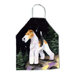 Caroline's Treasures - Starry Night Fox Terrier Apron - Apron, Bib Style, 27 in H x 31 in W; 100 percent  Ultra Spun Poly, White, braided nylon tie straps, sewn cloth neckband. These bib style aprons are not just for cooking - they are also great for cleaning, gardening, art projects, and other activities, too!