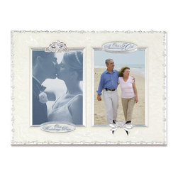 "Lawrence Frames - 50th Anniversary with 2 - 4x6 Openings Picture Frame - High quality heavy weight cast metal picture frame with ""50th Anniversary"" and ""Our Wedding"" will hold 2 4x6 photos is decorated with swirled pearlized enamel. Includes velvet easel backing for tabletop display."