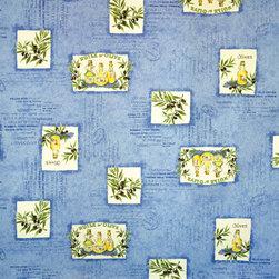 Provence Fabric olive oil blue document script - A Provence, France olive oil fabric with document script!