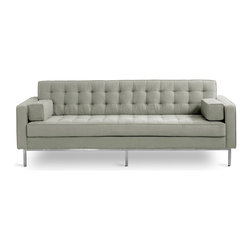 Gus - Spencer Sofa - This sofa has blind-tufted seat and back cushions with a stainless steel base. It includes 2 square side cushions.
