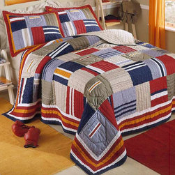 RR - Ronnie Patchwork Prewashed Cotton Quilt with Sham - Ronnie Patchwork Prewashed Cotton Quilt with Sham