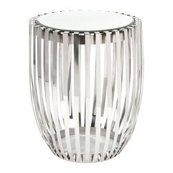 """Imax Worldwide Home - Xanthia Steel and Mirror Accent Table - Clean, polished steel ribs form the body of this drum style table with mirrored top. Very simple and sophisticated, this table will glide right into your contemporary room design.; Materials: 55% Glass, 40% Stainless Steel, 5% Mdf; Country of Origin: India; Weight: 14.1 lbs; Dimensions: 22""""H x 21.5""""W x 21.5"""""""