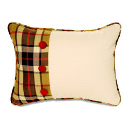 "Mystic Valley - Mystic Valley Traders Fulham Road - Boudoir Pillow - The Fulham Road boudoir pillow is fashioned from the Cobblestone fabric with a Tartan border and flap with Claret buttons, also reversing to the Tartan fabric, with Tartan piping; 12""x16""."