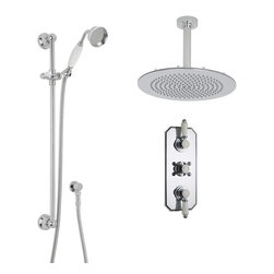 "Hudson Reed - Victorian Chrome & Ceramic Shower System Set - 12"" Rain Ceiling Head & Handspray - Enhance your traditional bathroom with this elegant shower system from Hudson Reed, which comes complete with the 12"" fixed shower head and ceiling arm, slide rail kit and the triple thermostatic shower valve. Made in Great Britain, the solid brass thermostatic shower valve incorporates an anti-scald device for a safer showering experience, as well as ceramic disc technology for smooth control over the flow and temperature of the water."