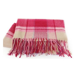 Kanata Blanket Co. - Riviera Throw - Sunset Pink Plaid - These light weight fringed throw blankets make a great accent piece.  Available in bright, sunny colors, they are as beautiful as they are practical.  Have one in every room of the home: folded at the base of a bed, draped over the arm of a living room chair, or nestled on a porch seat.  Wrap this super soft, fringed throw around you whilst lazily dreaming of the beautiful Riviera.  These fantastic fringed throws in their soft, warming colors reflect the calming, relaxing atmosphere that the Riviera brings, hence their name!