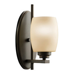 BUILDER - KICHLER 5096OZ Eileen Modern / Contemporary Wall Sconce - Named after famed furniture designer Eileen Gray, The Eileen Collection features a clean, straight linear construction with simple glass for a style that is as unique and contemporary as Eileen Gray's. The warm, antique elegance of our Olde Bronze finish complements the umber etched glass perfectly to give the Eileen Collection added ambiance that is ideal for today's ever-evolving aesthetic. The fixture is U.L. listed for damp location and may be installed with the glass either up or down, allowing for additional versatility.