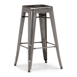 Zuo Modern - Zuo Marius Bar Chair in Gunmetal [Set of 4] - Bar Chair in Gunmetal belongs to Marius Collection by Zuo Modern Seen in popular bistros in France, the Marius bar and counter chair will transform your space into a caf� in Paris. The stool is electrical plated. Bar Chair (4)
