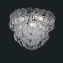 Vistosi - Giogali Hugger Chandelier Clear - Comprising 123 hand-blown Murano glass rings, the Giogali Chandelier (1967) is an exquisite and instantly recognizable classic of modern lighting. It was designed by renowned architect Angelo Mangiarotti for Vistosi Ò a family-run business, whose glass-making heritage dates back to the 16th century, but was lost for generations. In 1945, the company was revived by Guglielmo Vistosi, whose connection to avant-garde artists took the family business in a new direction. They began commissioning pieces by top designers like Mangiarotti, Vico Magistretti and Ettore Sottsass, a legacy that endures today.