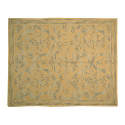 """Modern Wool And Silk Rug, Gold 8' X 10' Hand Knotted Nepali Oriental Rug SH13526 - The first way one normally finds silk in a rug is as a """"highlight""""  or """"silk touch"""". This will be seen in very high knot count traditional rugs typically. The silk is used in very small amounts throughout the design to highlight, add an extra dimension, and/or pop to the design. The second way silk is incorporated into a wool rug sometimes is when an entire element of a rug or color is done in silk. This is seen in both modern as well as traditional rugs. A design element, for instance a flower or bird, could be entirely carved out in silk within the rug. This design sometimes will also be depressed or raised (have a higher and lower pile) besides being done in silk so it will stand out even more within the rug."""